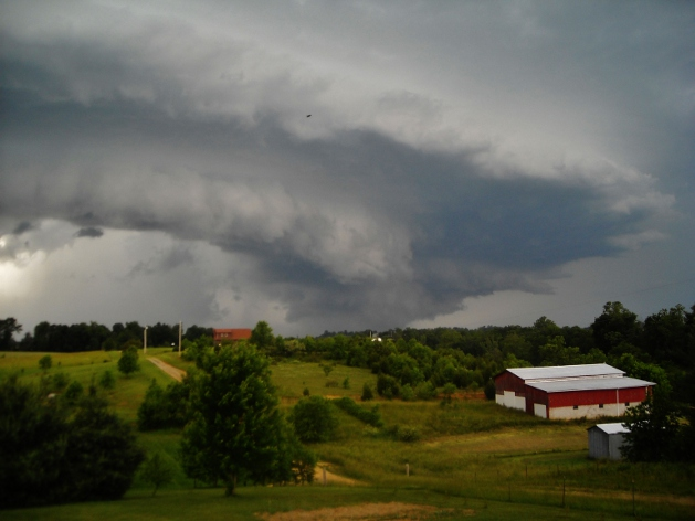 supercell thunderstorm, shelf cloud, wall cloud